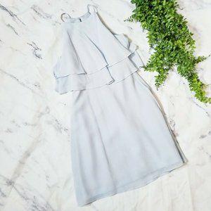 Jenny Yoo Cloud Blue Chiffon Halter Mini Dress